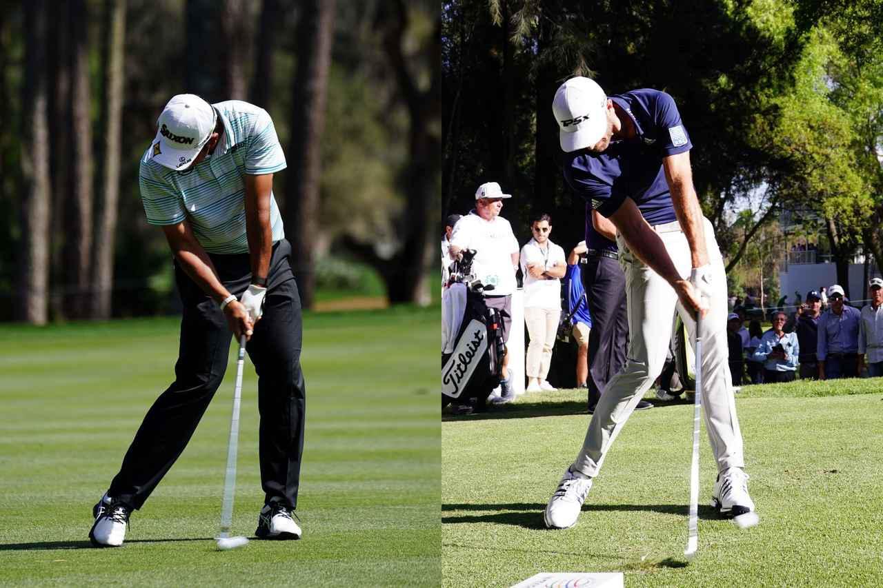 画像: 左がウィークに握る松山英樹、右がストロングに握るダスティン・ジョンソンのアイアンインパクト。プロでもグリップによって手元の位置が大きく違っていることがわかる