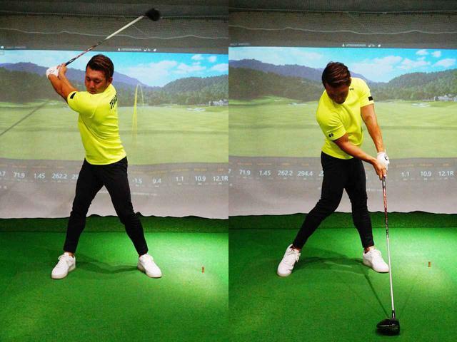 画像: 始動で左肩を右ひざの上に持っていくようにしっかりと回し、ダウンスウィングではターゲット方向に胸が向くように意識しよう