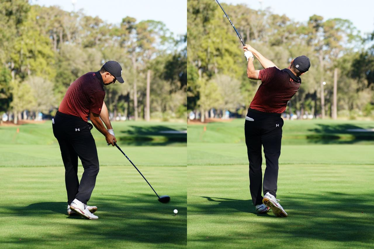 画像: インパクト時はフェースが返らないよう左手人差し指、右手親指を外している(左)。フォローでもフェースが返らないよう、左ひじを抜きながら左手首を背屈させる(右)