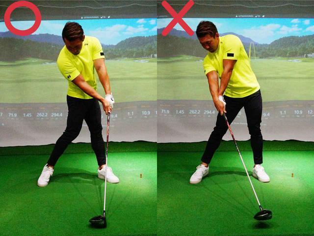 画像: 写真左のように体を止めて手を返すと左へ引っかける球を打ちやすい。正しくは写真右のように胸と腕を同調させて「フェードを打つイメージ」で振っていくことだ