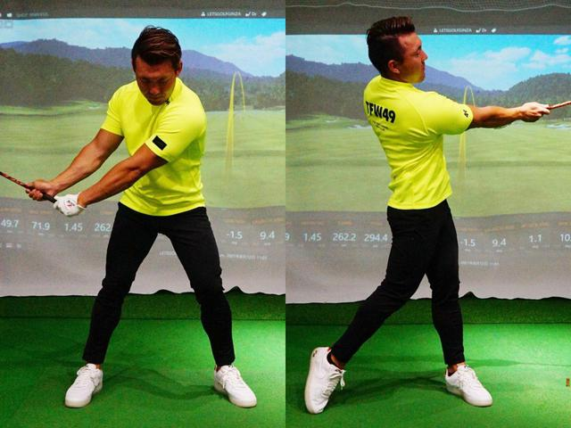 画像: 右手と左手を離してグリップを握り、フェースローテーションをさせないように練習してみよう