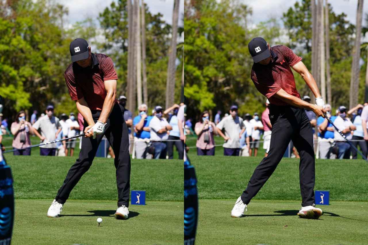 画像: ハンドファーストでクラブを下ろし(左)、インパクト後は左ひざが割れて開き左足がめくれ上がり、左ひじも少し曲がっている(右)。一般的に良くない動きが詰まっているが吉田曰く「フェードを打つのが第一でほかの部分は気にしていないのでは」とのこと