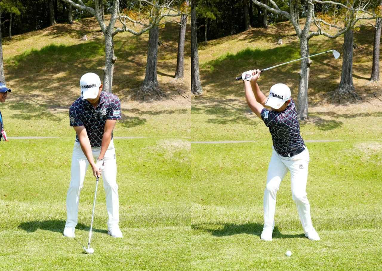 画像: 画像A クラブを短く握りボールはスタンスの中央付近、左腕とクラブが一直線になるように構える(左)、手元と体の距離を保ったままテークバックする(右)(2021年の関西オープン 写真/岡沢裕行)