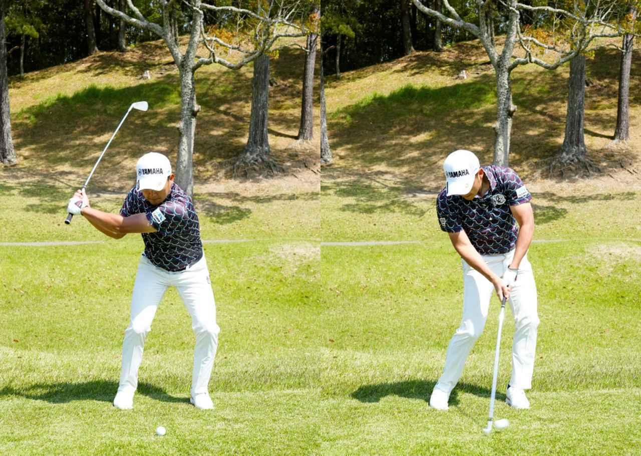 画像: 画像B 左ひざ、左サイドから切り返し(左)、体幹を使って回転力をクラブに伝えることで正確で再現性の高いインパクトを実現する(右)(2021年の関西オープン 写真/岡沢裕行)