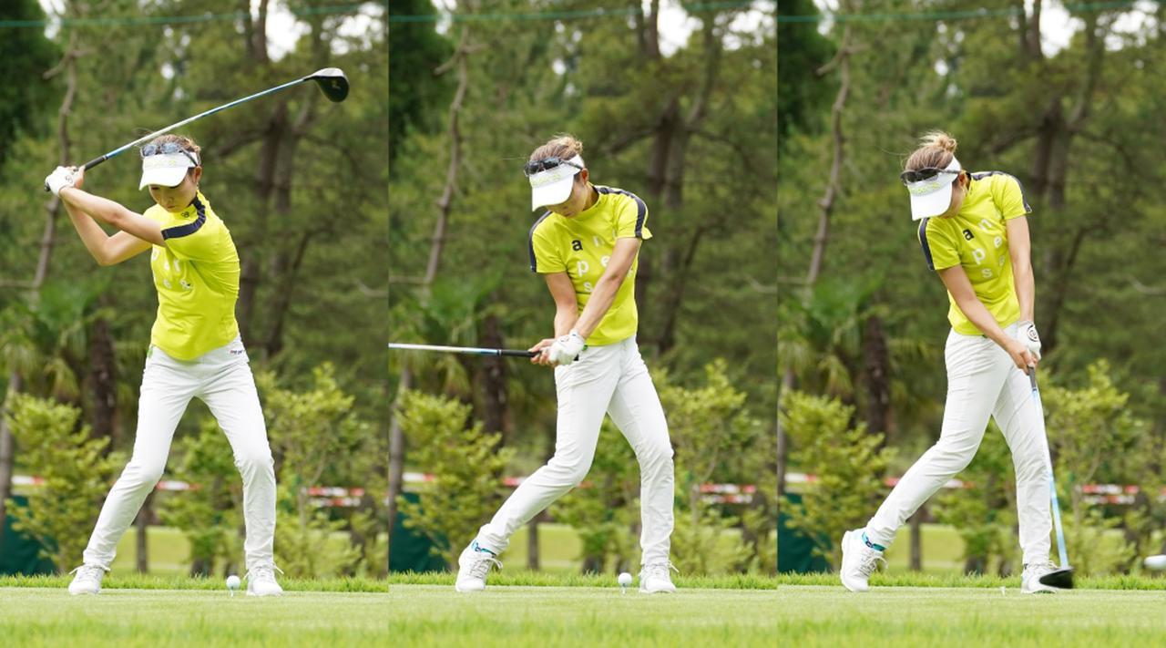画像: 写真B:切り返しで左足を踏み込みながら腰をターン。ダウンスウィングの早い段階で腰は回し切り、手元は体の回転についていかずしっかり耐えていることが、浅い入射角とスピン量の安定につながっている(写真は2021年のニチレイレディス 撮影/大澤進二)