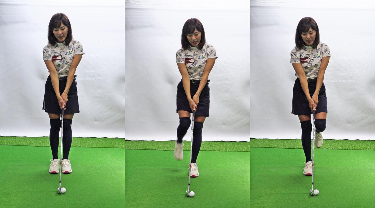 画像: 7番アイアンを持ち、両足をそろえた状態(左)、左足1本立ち(中)、右足1本立ち(右)でそれぞれスウィング。安定して一番強い球が打てたのが両足をそろえた状態ならセンター軸、左足1本なら左軸、右足1本なら右軸が合っている