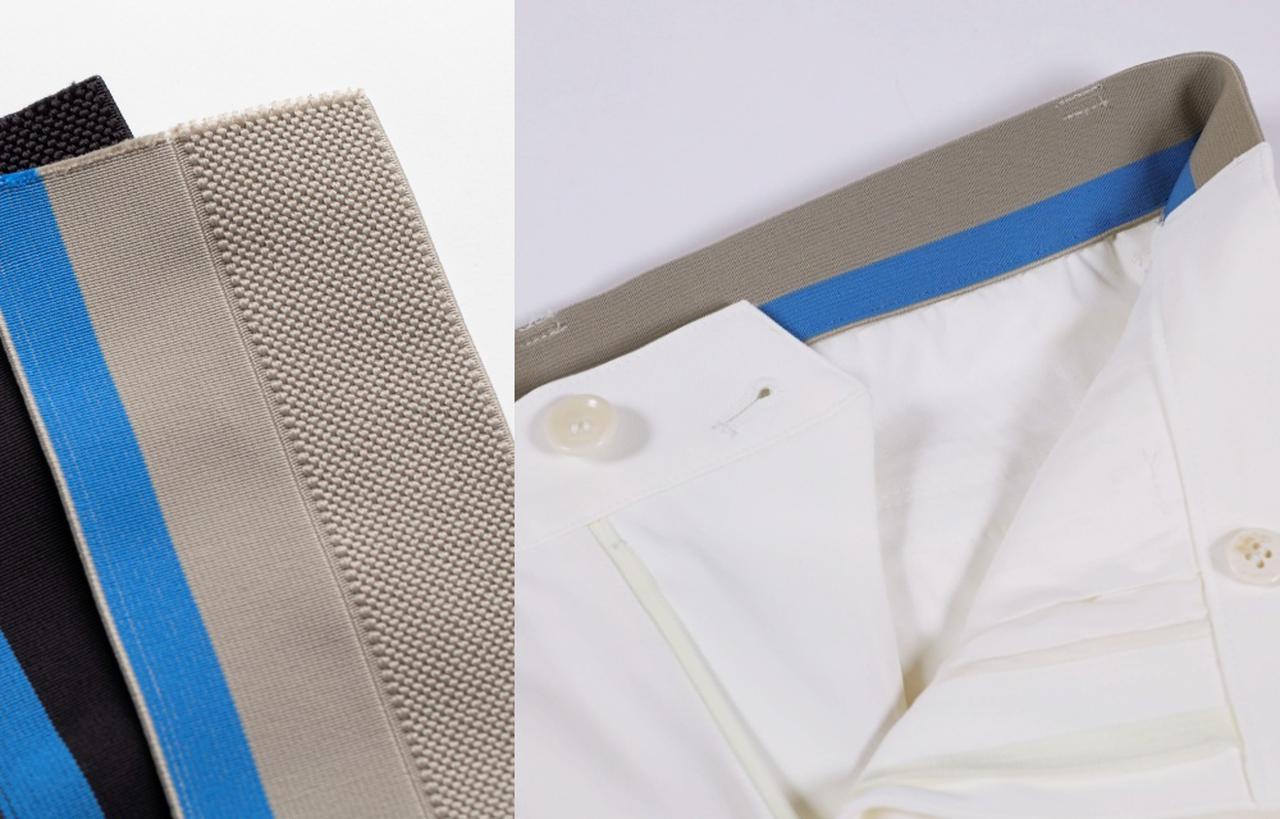 画像: サイズは44、46、48、50の4つ。ウエストの高性能ゴムは締め付け感がなく非常にラクかつ、インしたシャツが外に出るのを防いでくれる効果も