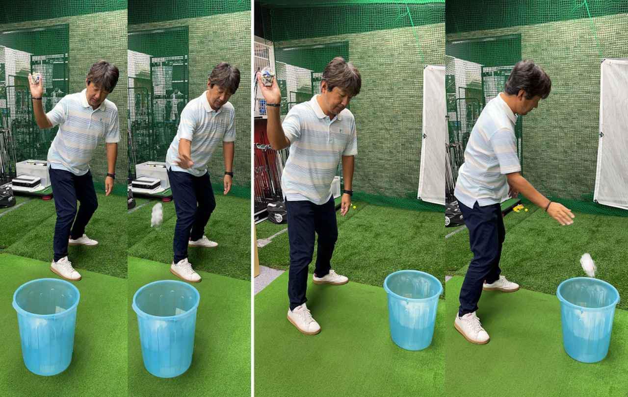 画像: (左)体の後ろのゴミ箱にゴミを投げ入れる動きだと、右手のひらが下を向く。(右)体の正面のゴミ箱に投げ入れる動きだと右肩が前に出てしまう