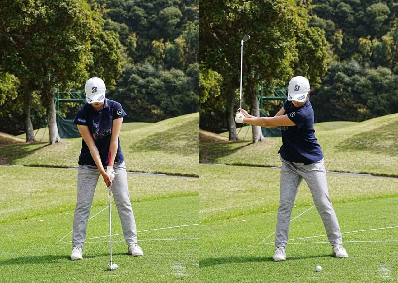 画像: 画像A オーソドックスなスクェアグリップで握り軽く両わきが締まったアドレス(左)から腕と体の動きが同調したテークバック(右)(写真は2021年のヤマハレディース 写真/姉崎正)