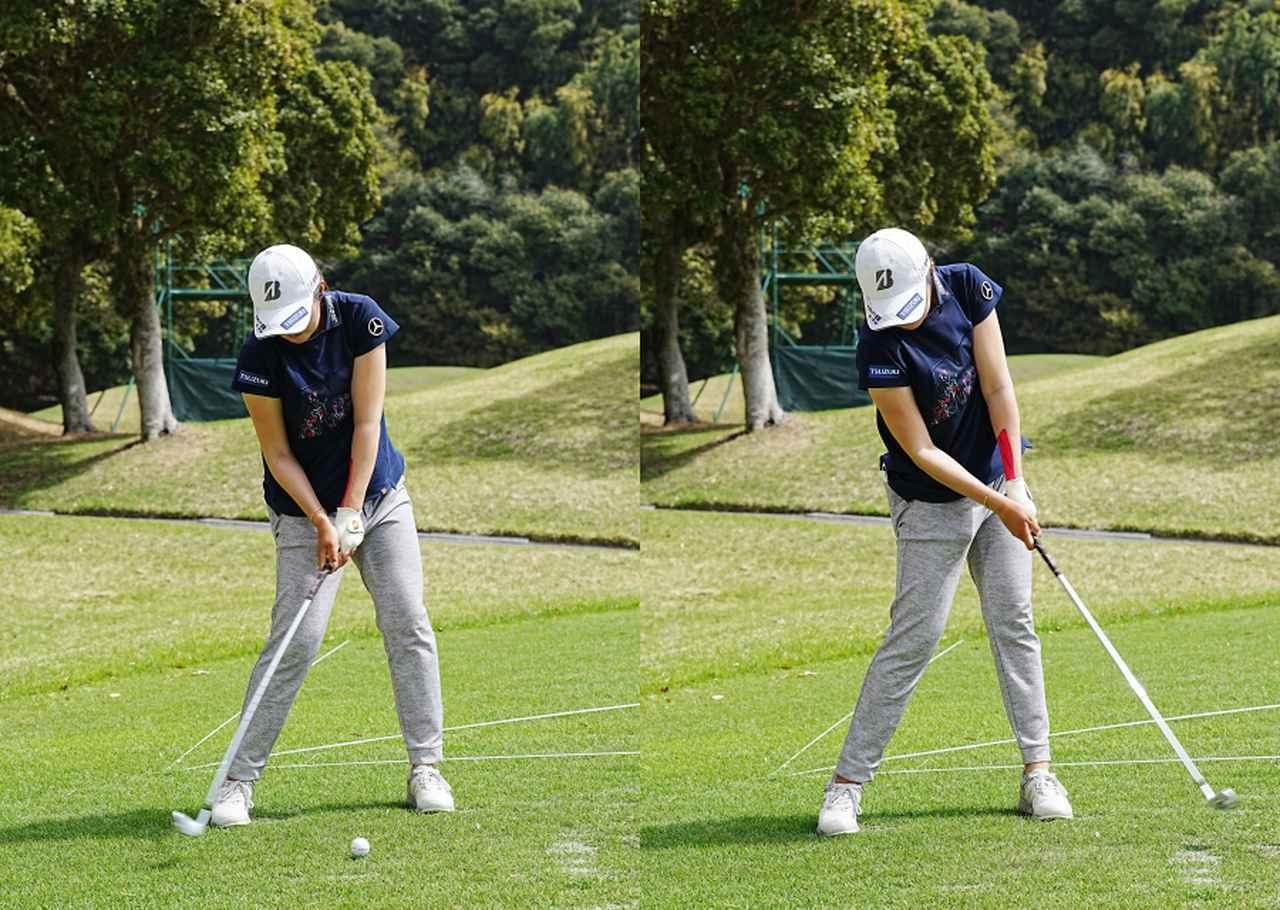 画像: 画像C インパクト前後の動きはおヘソとクラブの動きがリンクするようにボールを運ぶことで再現性の高いインパクトを実現する(写真は2021年のヤマハレディース 写真/姉崎正)