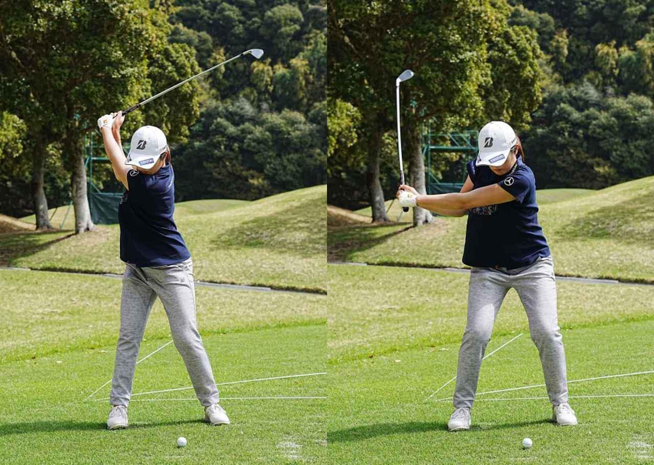 画像: 画像B コンパクトなトップ(左)からダウンではタメを深く作らず、浅く安定した入射角でインパクトへ向かう切り返し(右)(写真は2021年のヤマハレディース 写真/姉崎正)