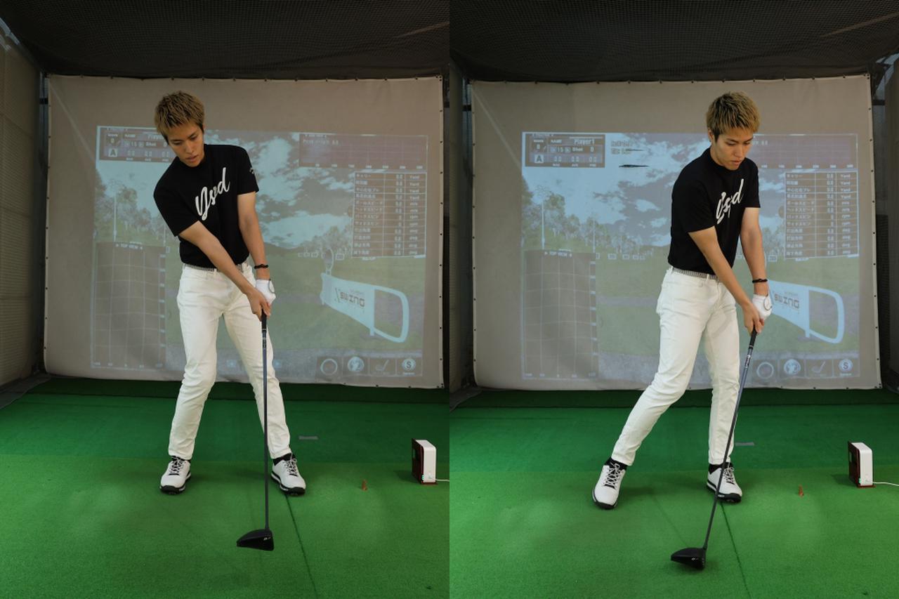 画像: 向かい風=アゲンストなら体が左に突っ込む原因に(右)、追い風=フォローなら右に体重が残るミスが起こりやすい