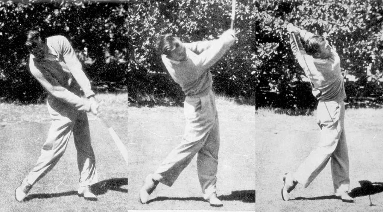 画像: インパクトで左足が伸び上がっていることから地面反力を活かしたスウィングであることがうかがえる。左足に軸を取りつつも、上半身は若干右サイドへ残すことでアッパー軌道で振り抜ける
