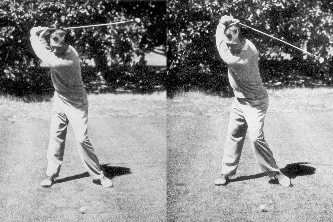 画像: 左がトップ直前、右がトップ位置の写真。右足外側を浮かせて左ひざを内側へ動かし骨盤をより回せるようにすることでクラブを深く上げられる。トップにクラブが届く前に骨盤は左サイドにスライド。切り返す準備ができている