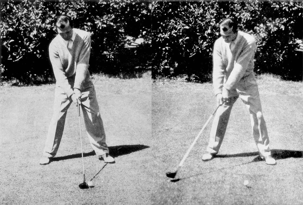 画像: 左足軸で構え、手ではなく体の回転でクラブを上げていく