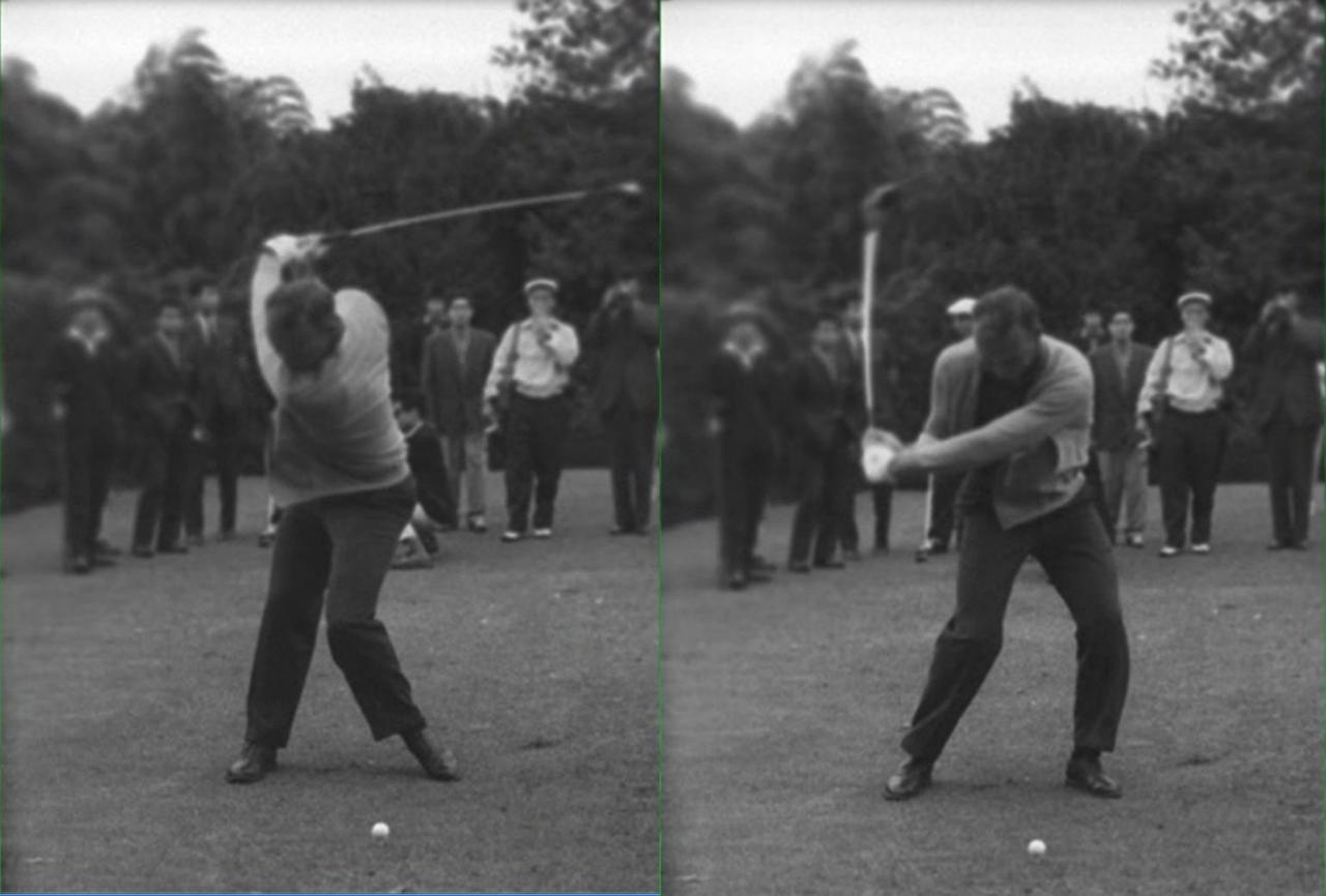 画像: ヒールアップして左ひざを体の内側へ寄せることでより体を深く回転させて出力を上げている(左)。ただしパーマーのようにダウンスウィングで左ひざを戻す際に左足つま先の向きと一致させないとミスの原因にも(右)