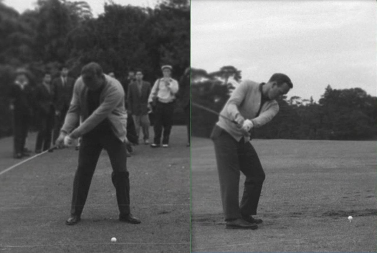 画像: 右股関節を後ろ側へ引くことで、右足を動かさずにテークバックでき、スウィングが安定する