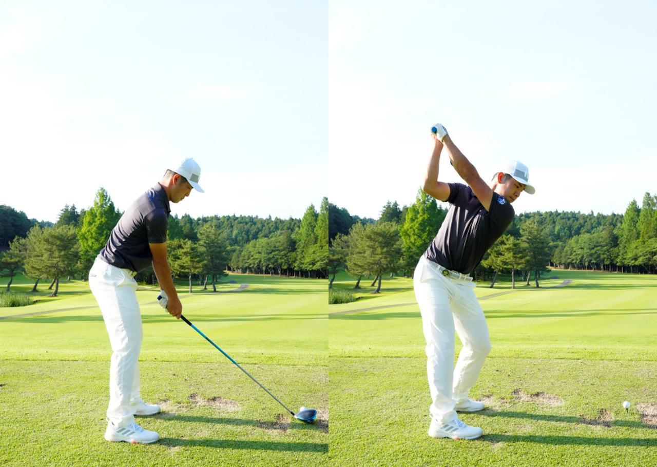 画像: 画像A:バランスの良いアドレスから、トップポジションでも体の軸が傾かず前傾がしっかりキープされている(写真は2021年の日本ゴルフツアー選手権 森ビル杯 写真/岡沢裕行)