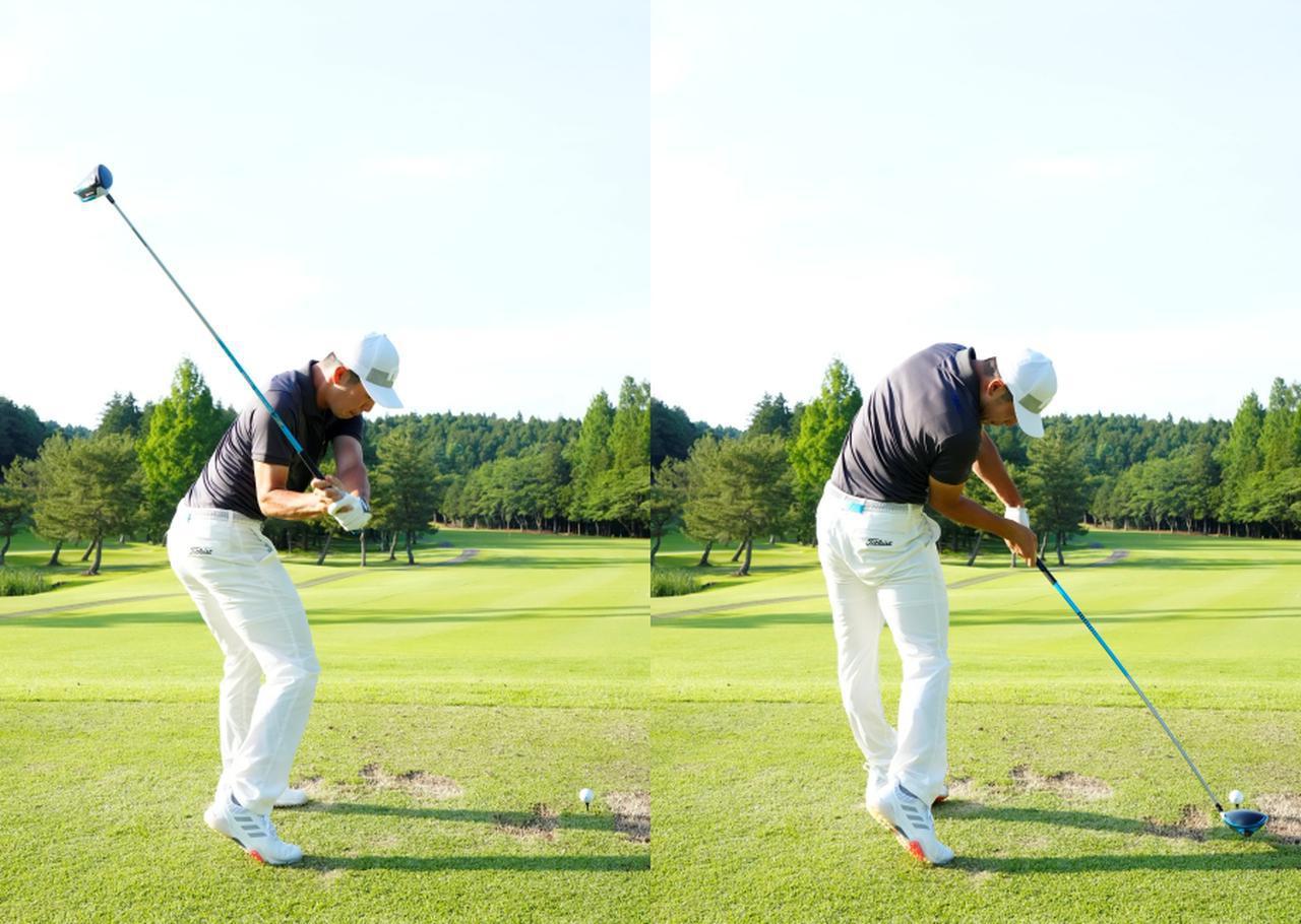 画像: 画像B:インパクトで体がターゲット方向を向くくらい回転を使ったスウィング(写真は2021年の日本ゴルフツアー選手権 森ビル杯 写真/岡沢裕行)