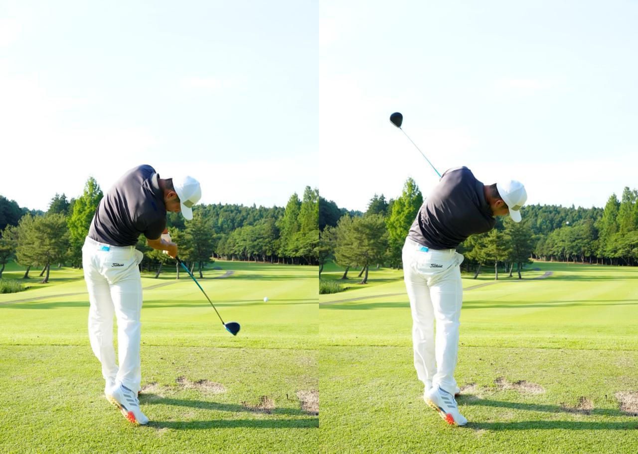 画像: 画像C:インパクト直後からフォローでフェースがほとんど返っていないことから、フェースローテーションを抑えて体の回転で飛ばすスウィングでああることが読み取れる(写真は2021年の日本ゴルフツアー選手権 森ビル杯 写真/岡沢裕行)