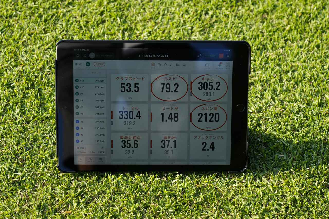 画像: 写真A:6月時点での中島のトラックマンデータ。ヘッドスピードは53.5m/s、ボール初速は79.2m/sをマーク(写真は2021年の日本ゴルフツアー選手権 森ビル杯 写真/岡沢裕行)