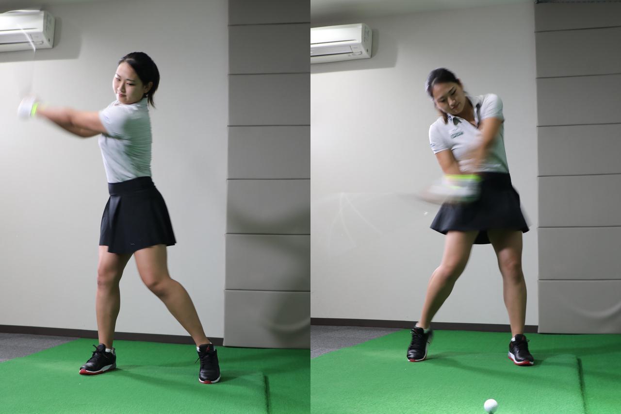 画像: クラブをしならせるためにはスウィングのテンポが重要。テークバックではゆっくりと振り、切り返し以降にインパクトへ向けてスピード・パワーが最大になるようにテンポを上げていくのだという