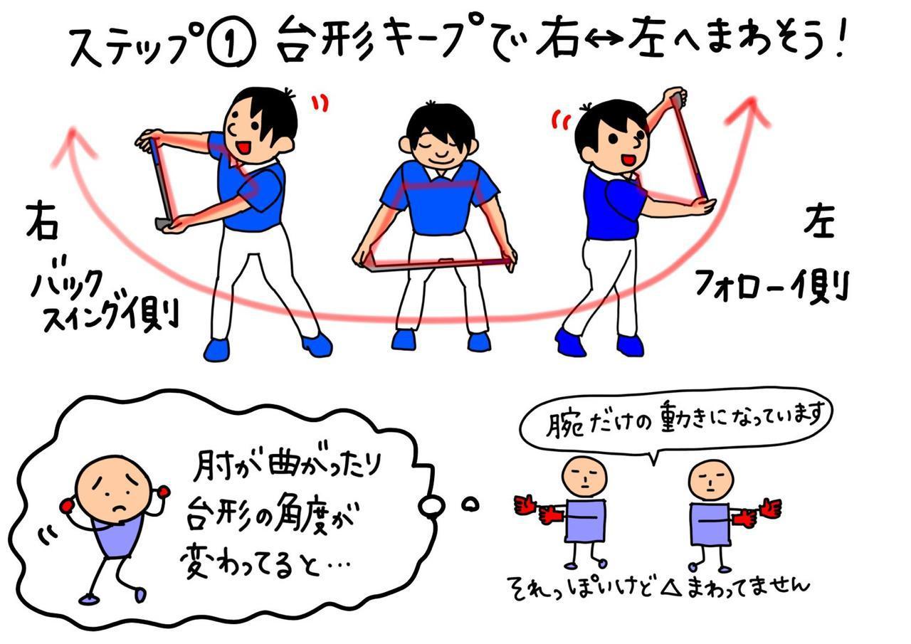 画像: 胸椎の背中のあばら部分を動かすストレッチ。両肩のライン、クラブシャフト、両腕を結んだ際にできる台形のシルエットをキープしながら状態を左右に回そう。腕の動きに合わせて頭が動いてもオッケーだと大谷