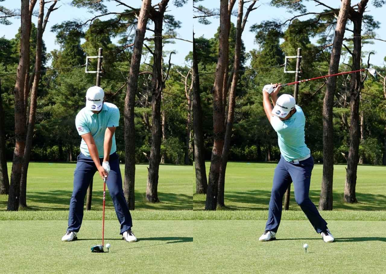 画像: 画像A 太ももに張りを持たせた松山英樹選手を思わせるアドレス(左)から左ひざを内に入れ回転量を確保しながら右サイドでしっかり受け止める(右)(写真は2021年のブリヂストンオープン)