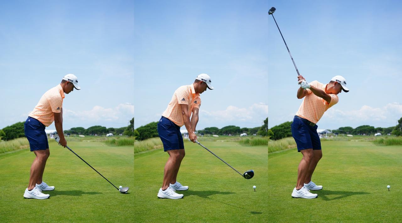 画像: 写真A:写真中と右のシャフトの角度を見比べると、写真左のアドレス時より写真右のほうがクラブが立っていることがわかる