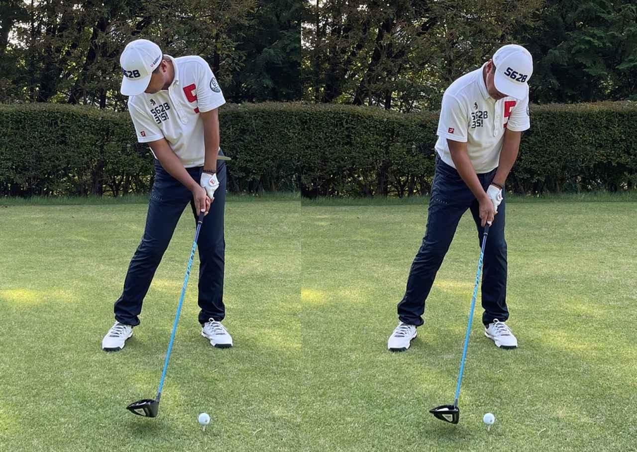 画像: (左)上体が開かないようにインサイドからクラブを下ろしたい。(右)右肩が突っ込んでカット軌道になってしまってはダメ