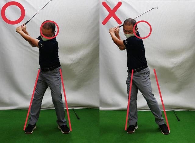 画像: アイアンのフィニッシュがピタッと止まれないのは体重移動が原因!写真右のようにテークバックで右に乗り過ぎているゴルファーは要注意だ、スマホで確認してみよう