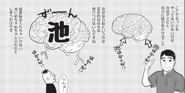 画像: 「池はダメ!」という思考は、脳には「池!」とだけ伝わる。