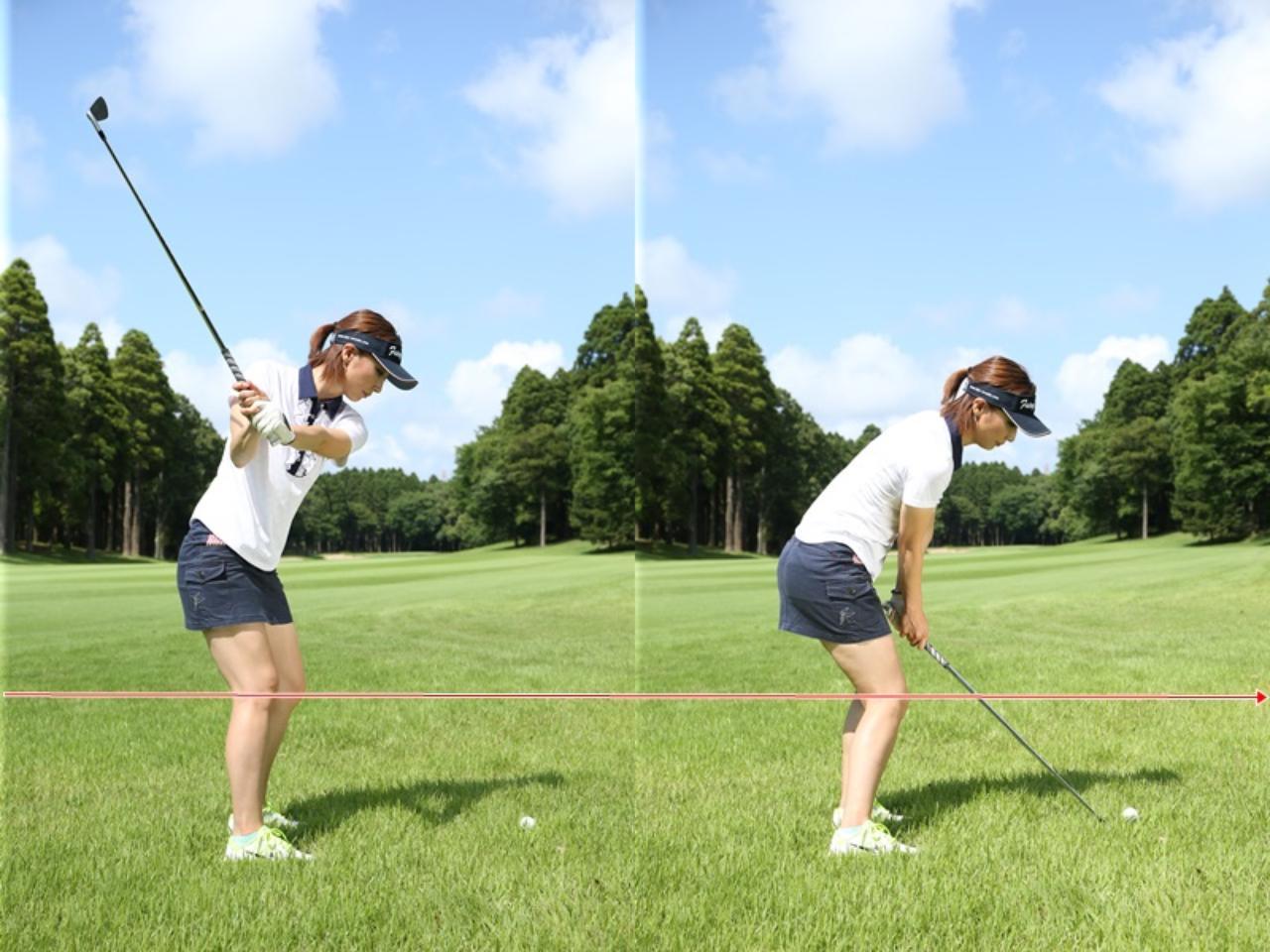 画像: ひざの動きが保たれると、スウィング自体もコンパクトになる