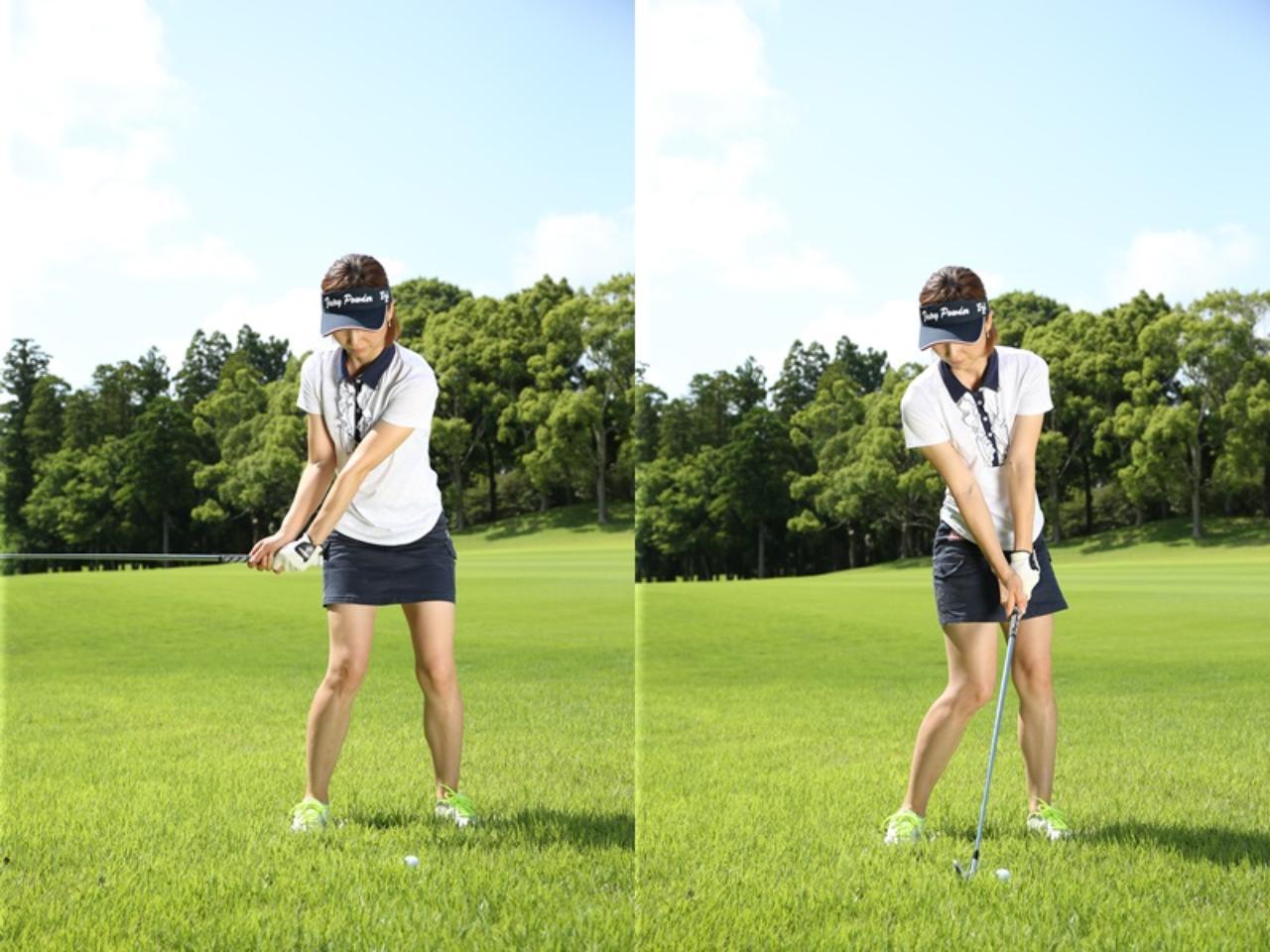 画像: 右手首の角度をインパクトまでキープ。クラブが上下動しない