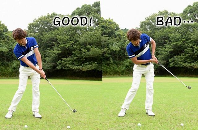 画像: 当てる、飛ばすという意識だとフォローが小さくなり、飛ばせない(写真右)。フィニッシュまで一気に振り切るためには打つボールの先にセットしたボールにヘッドを出していくイメージがいい(写真左)