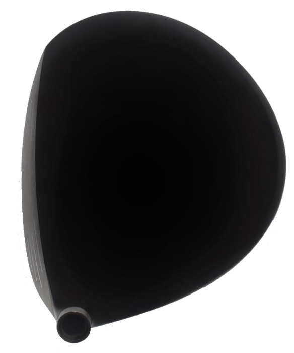 画像: グランディスタLS-001のヘッドを上から見た図。構えやすさを重視して、重心距離は長いがフックフェースではない