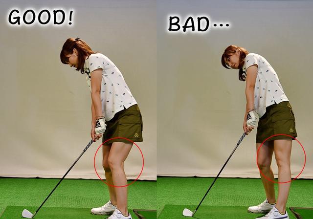画像: アオリ打ちになってしまうと、インパクトで左ひざが伸びる(写真右)。アドレス時の角度をキープする意識で振ろう(写真左)