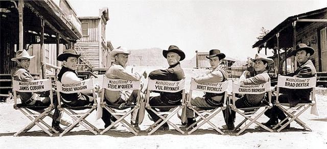 画像: 「荒野の七人」のメンバー(左からジェームズ・コバーン、ロバート・ヴォーン、スティーヴ・マックィーン、ユール・ブリンナー、ホルスト・ブッフホルツ、チャールズ・ブロンソン、ブラッド・デクスター) myfavoritewesterns.com