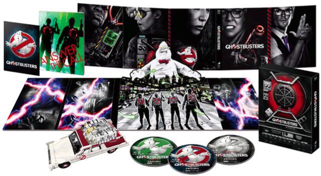 画像: 「ゴーストバスターズ」ブルーレイ プレミアム・プロトンパック・パッケージ(初回生産限定) ソニー・ピクチャーズ/12月21日発売、7200円+税(3枚組)、4K ULTRA HD&ブルーレイセットは6800円+税(2枚組)、ブルーレイは4743円+税、DVDは3800円+税で同時発売 特典=ポストカード、プロトンパック・パッケージ、ゴーストポップアップ・ディスクトレー、ペーパークラフトECTO-1、ブックレット封入、未公開別バージョン&エクステンデッド・シーン、キャラクター紹介、「ゴーストバスターズ」の幽霊たち、視覚効果:30年の時を経て、クリス・ヘムズワース参上!他