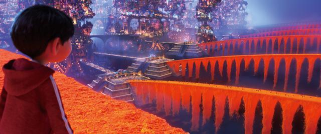 """画像: 美しいオレンジ色の橋はすべて花びら 死者の国へ通じる橋はマリーゴールドの花びらでできている。その花びらは色と香りが強く、メキシコの""""死者の日""""では故人の魂の道標として用いられる。"""