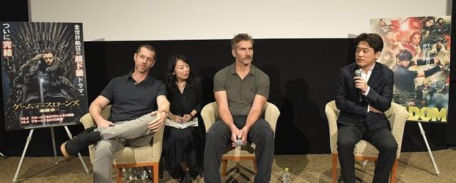 画像: 左からD・B・ワイス、デヴィット・ベニオフ、原泰久