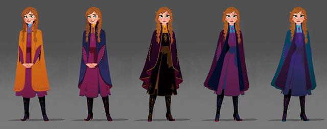 画像: エルサとアナの衣装のデザイン画