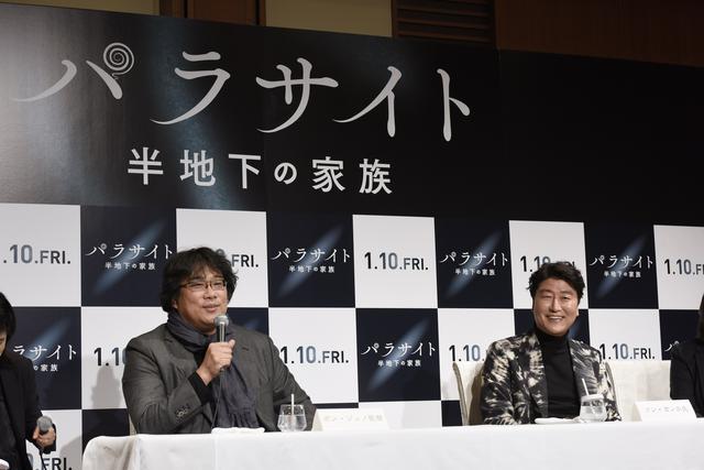 画像: 左からポン・ジュノ監督、主演のソン・ガンホ(Photo by Tsukasa Kubota)