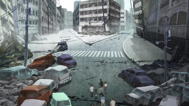 """画像: 「日本沈没2020」主人公たちの目の前で、見慣れていた風景がいきなり変貌する  ©""""JAPAN SINKS : 2020""""Project Partners"""
