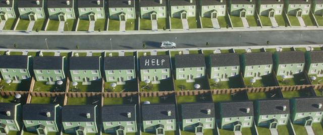 画像: 案内された新興住宅地には、ひたすら同じ家が立ち並ぶ