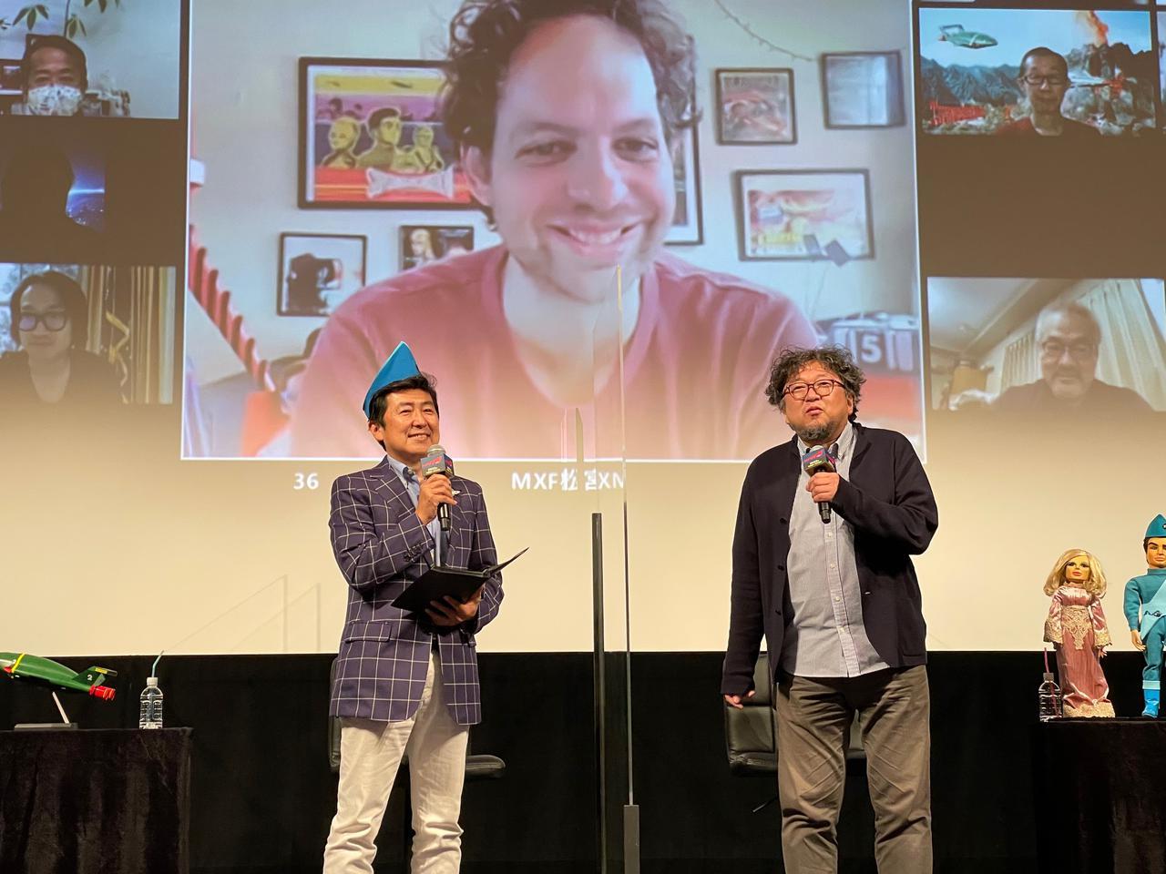 画像: リモート出演のスティーブン・ラリビエー監督と樋口真嗣監督(右)