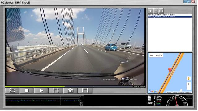 画像: 専用ビューアソフトを使用することで、場所や速度などが一目でわかる。ひとコマ送り再生やワンクリック画像変換機能も搭載する。