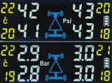 画像: 表示は上部の「Bar」と下部の「Psi」から選べる。各タイヤ内温度は黄色で表示。