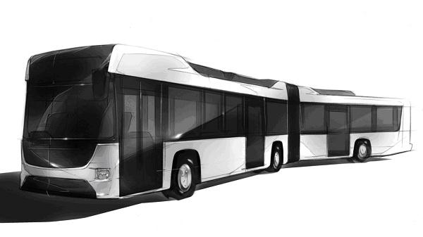 画像: ▲今回の発表に合わせて公開された連節バスのイメージ図。