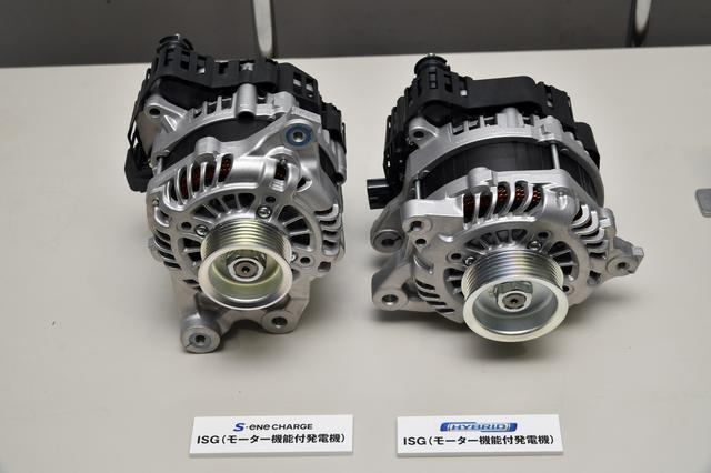 画像: 左が先代ワゴンRに搭載のSエネチャージのモーター、左が新型ワゴンRに搭載のモーター。